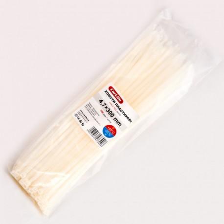 Хомут пластиковый 4,8 x 300 - белый - 100 шт.