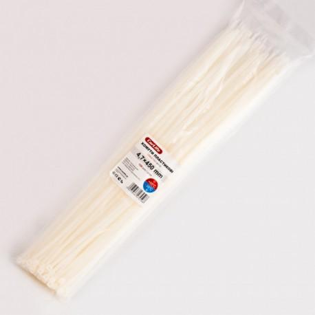 Хомут пластиковый 4,8 x 450 - белый - 100 шт.