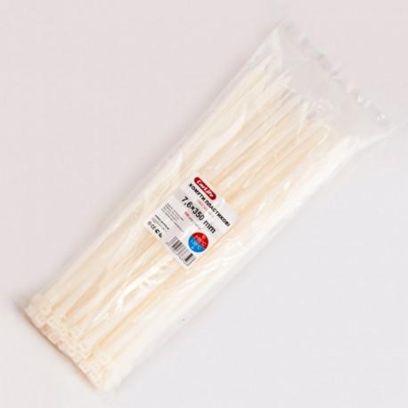 Хомут пластиковый 7,6 x 350 - белый - 100 шт.