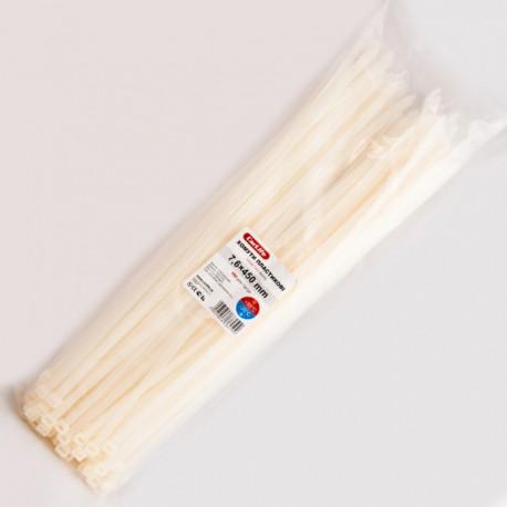Хомут пластиковый 7,6 x 450 - белый - 100 шт.
