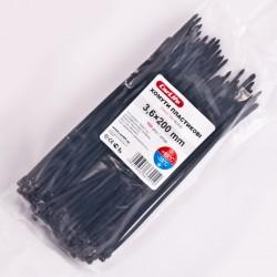 Хомут пластиковый 2,5 x 200 - черний - 100 шт.